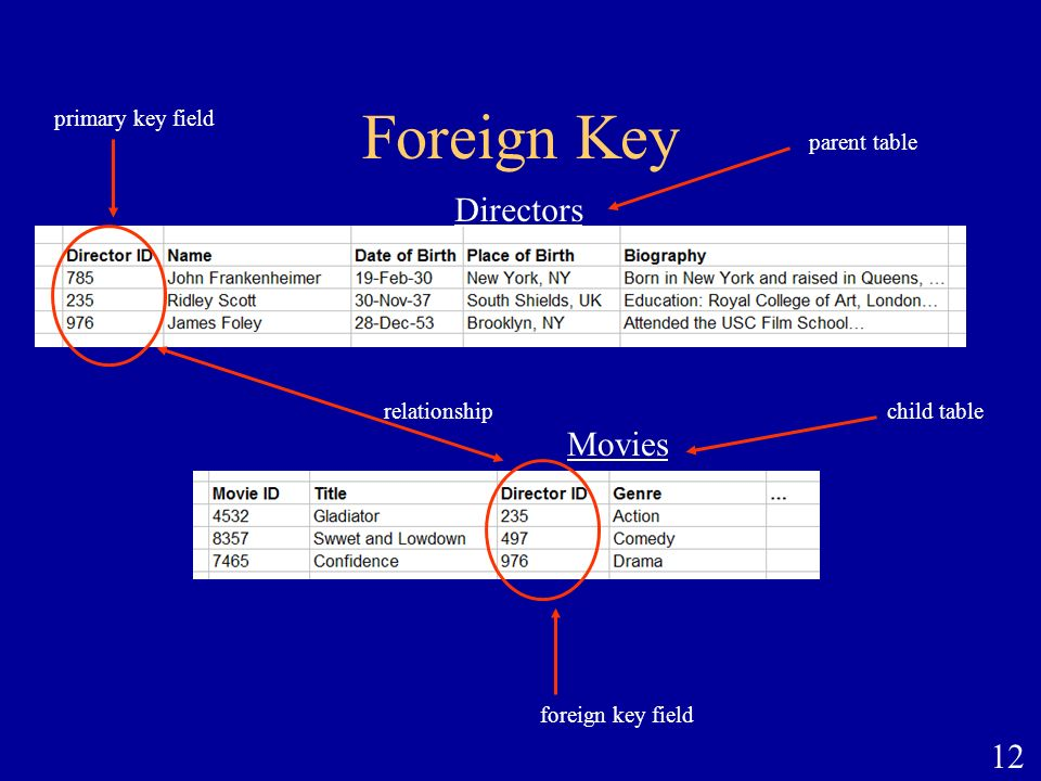 12 Foreign Key foreign key field primary key field parent table Directors Movies child tablerelationship