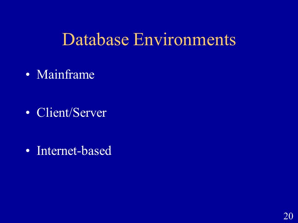 20 Database Environments Mainframe Client/Server Internet-based