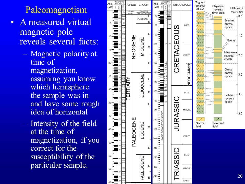 20 Paleomagnetism A measured virtual magnetic pole reveals several facts: –Magnetic polarity at time of magnetization, assuming you know which hemisphere the sample was in and have some rough idea of horizontal –Intensity of the field at the time of magnetization, if you correct for the susceptibility of the particular sample.