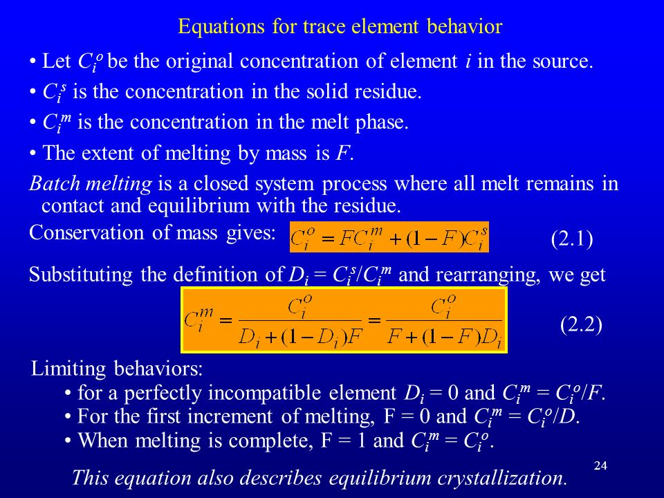 24 Equations for trace element behavior Let C i o be the original concentration of element i in the source. C i s is the concentration in the solid re