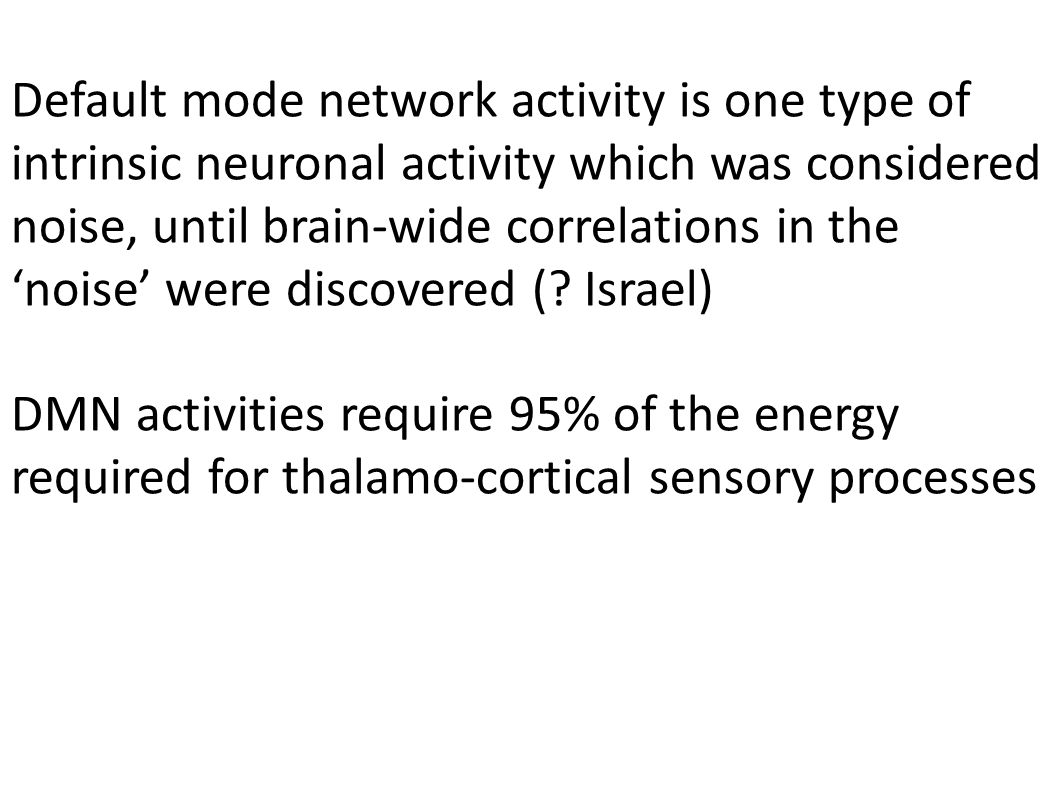 Default mode network activity is one type of intrinsic neuronal activity which was considered noise, until brain-wide correlations in the noise were d