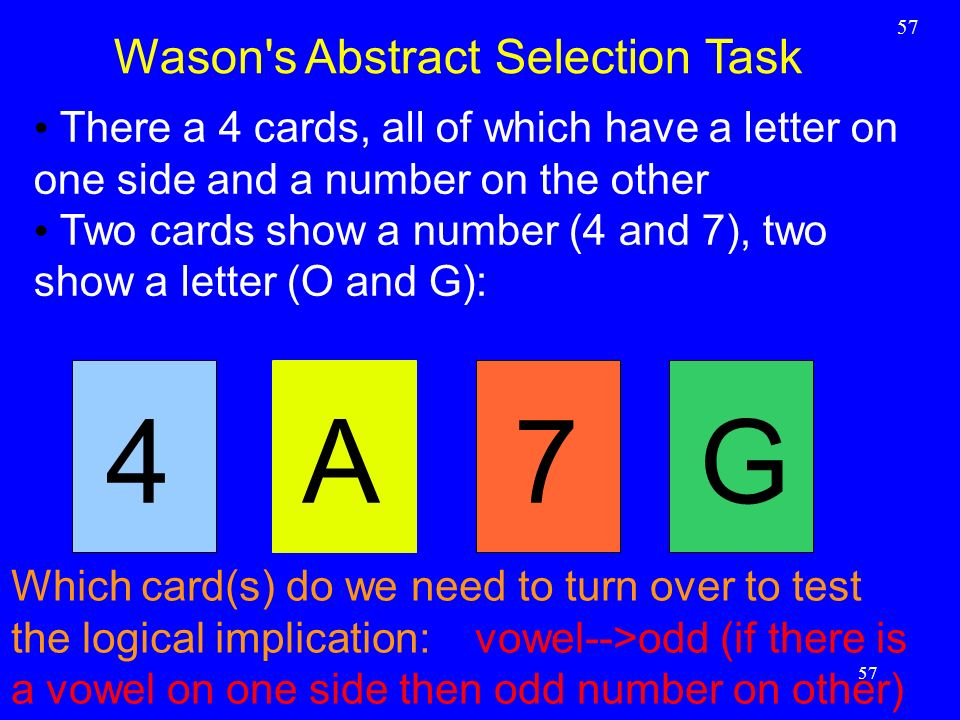 57 Wason's Abstract Selection Task 57 There a 4 cards, all of which have a letter on one side and a number on the other Two cards show a number (4 and