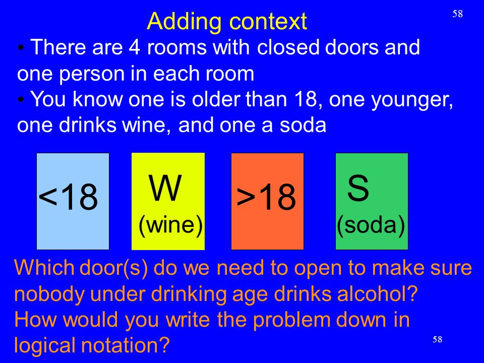 58 Adding context 58 There are 4 rooms with closed doors and one person in each room You know one is older than 18, one younger, one drinks wine, and