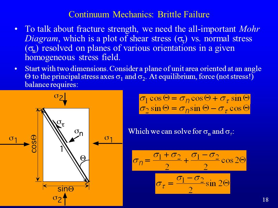 Continuum Mechanics: Brittle Failure To talk about fracture strength, we need the all-important Mohr Diagram, which is a plot of shear stress ( ) vs.