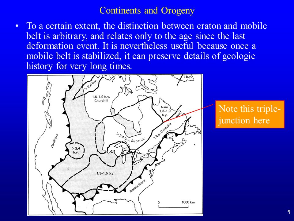 Continents and Orogeny To a certain extent, the distinction between craton and mobile belt is arbitrary, and relates only to the age since the last de