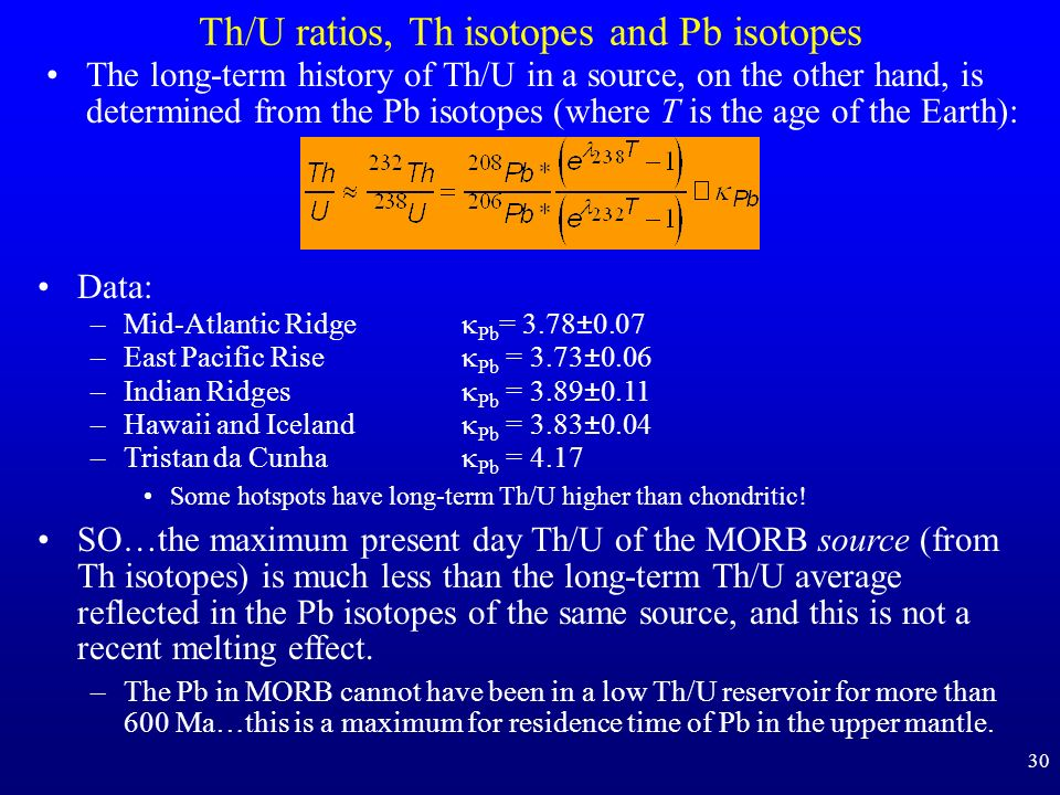 30 Th/U ratios, Th isotopes and Pb isotopes The long-term history of Th/U in a source, on the other hand, is determined from the Pb isotopes (where T