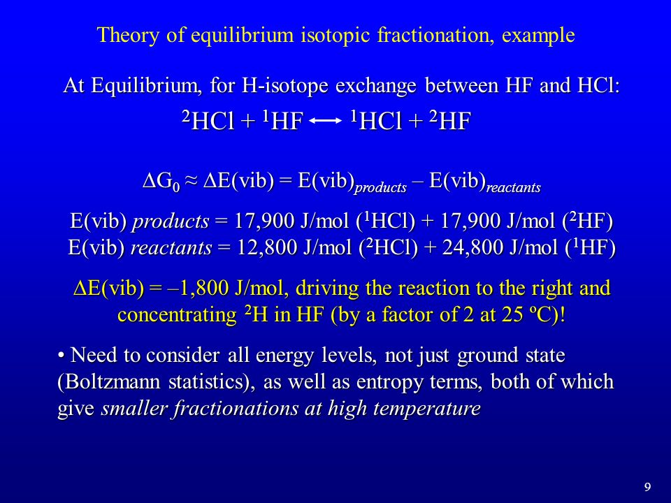 Temperature dependence of equilibrium isotope effects 10