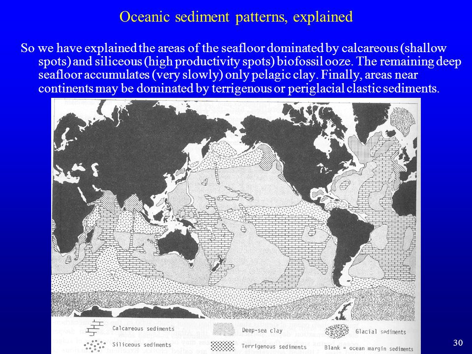 Oceanic sediment patterns, explained So we have explained the areas of the seafloor dominated by calcareous (shallow spots) and siliceous (high produc