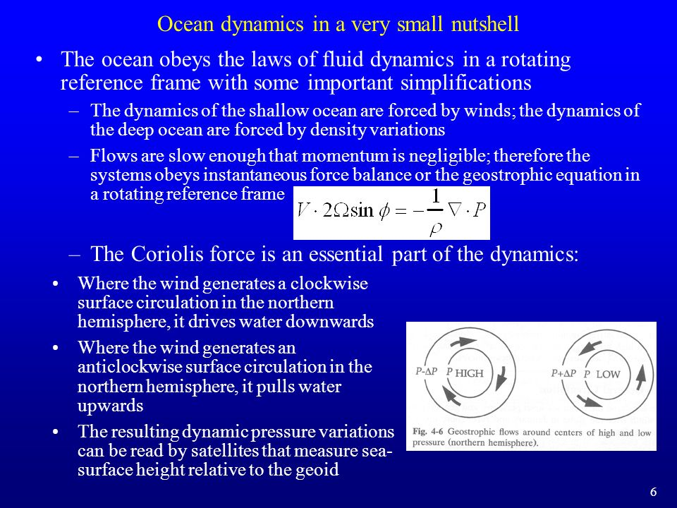 Ocean dynamics in a very small nutshell The ocean obeys the laws of fluid dynamics in a rotating reference frame with some important simplifications –