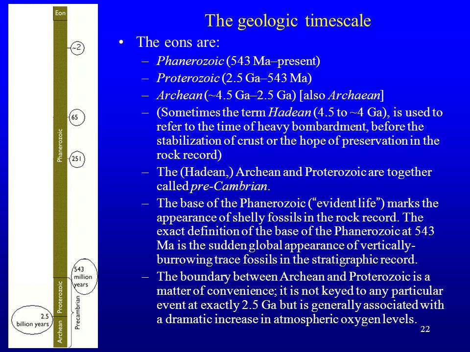 22 The geologic timescale The eons are: –Phanerozoic (543 Ma–present) –Proterozoic (2.5 Ga–543 Ma) –Archean (~4.5 Ga–2.5 Ga) [also Archaean] –(Sometim