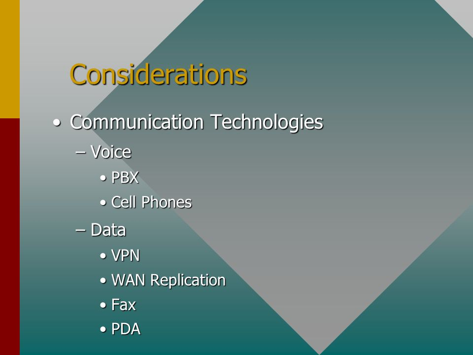 Considerations Considerations Communication TechnologiesCommunication Technologies –Voice PBXPBX Cell PhonesCell Phones –Data VPNVPN WAN ReplicationWAN Replication FaxFax PDAPDA