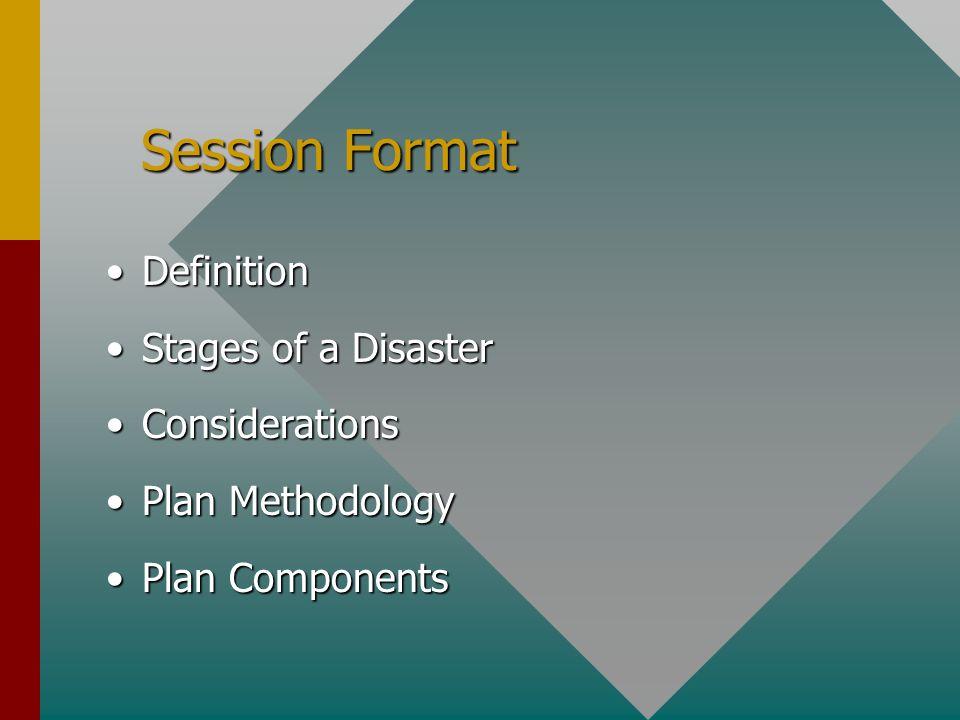 Session Format Session Format DefinitionDefinition Stages of a DisasterStages of a Disaster ConsiderationsConsiderations Plan MethodologyPlan Methodology Plan ComponentsPlan Components