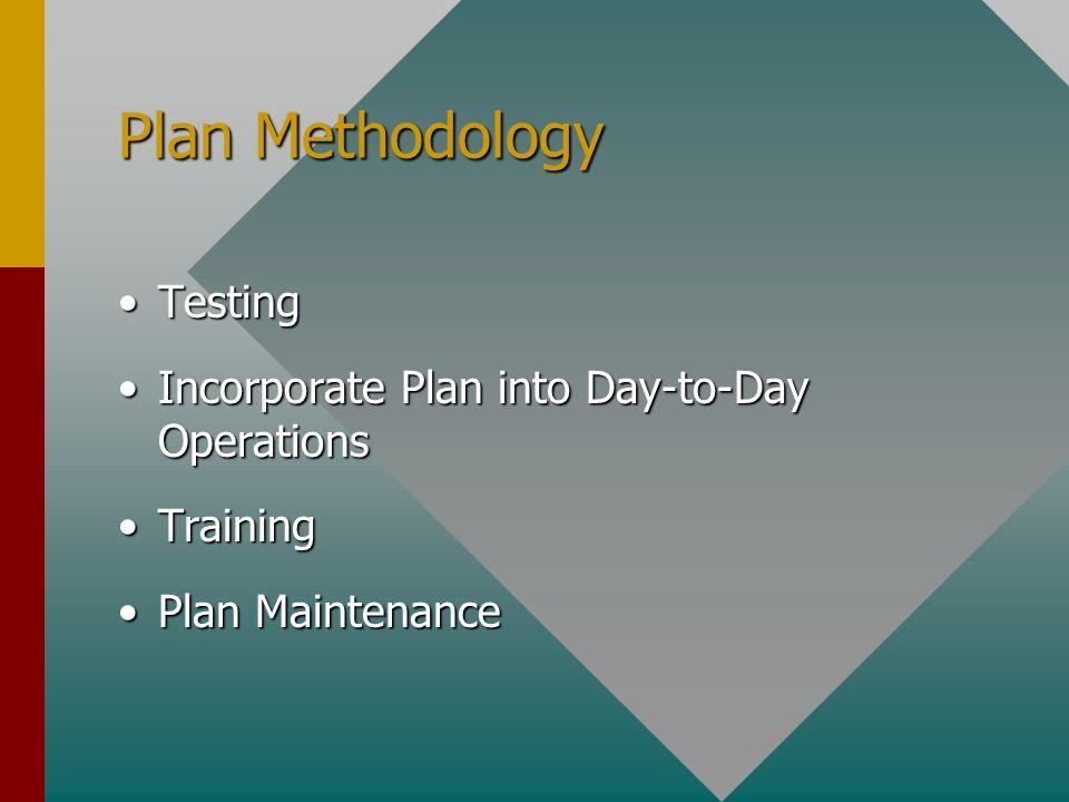 Plan Methodology TestingTesting Incorporate Plan into Day-to-Day OperationsIncorporate Plan into Day-to-Day Operations TrainingTraining Plan MaintenancePlan Maintenance