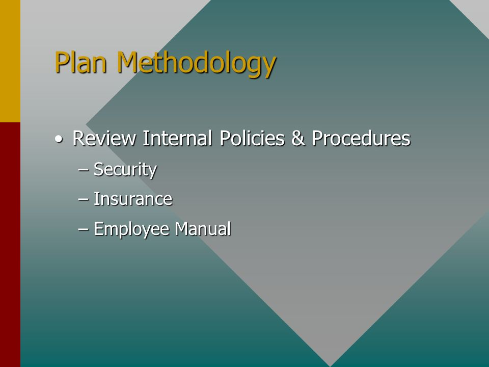 Plan Methodology Review Internal Policies & ProceduresReview Internal Policies & Procedures –Security –Insurance –Employee Manual