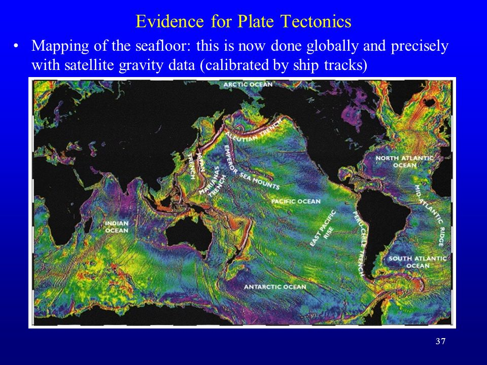37 Evidence for Plate Tectonics Mapping of the seafloor: this is now done globally and precisely with satellite gravity data (calibrated by ship track