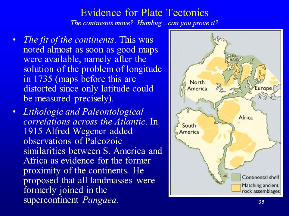 35 Evidence for Plate Tectonics The fit of the continents. This was noted almost as soon as good maps were available, namely after the solution of the