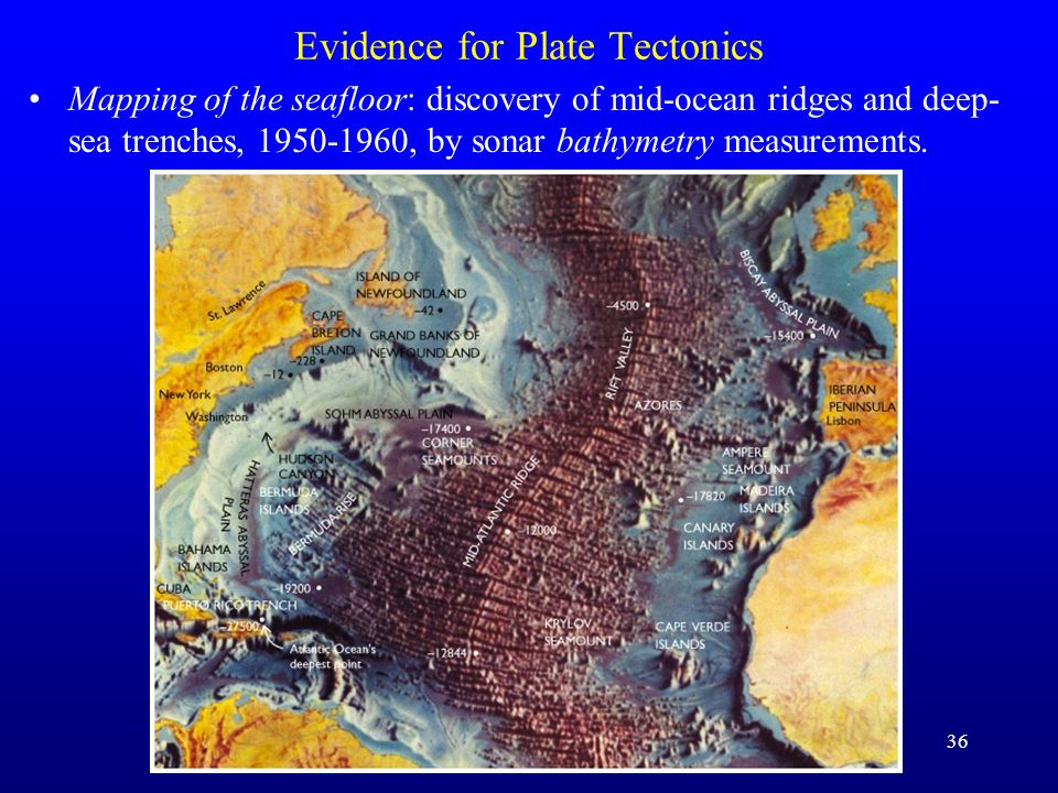 37 Evidence for Plate Tectonics Mapping of the seafloor: this is now done globally and precisely with satellite gravity data (calibrated by ship tracks)