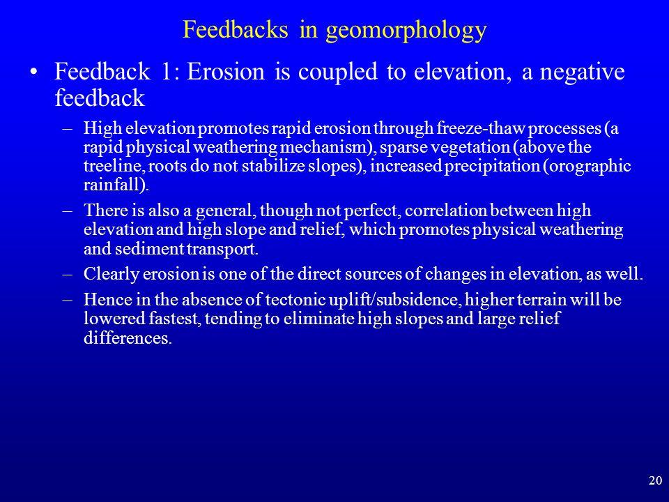 20 Feedbacks in geomorphology Feedback 1: Erosion is coupled to elevation, a negative feedback –High elevation promotes rapid erosion through freeze-t