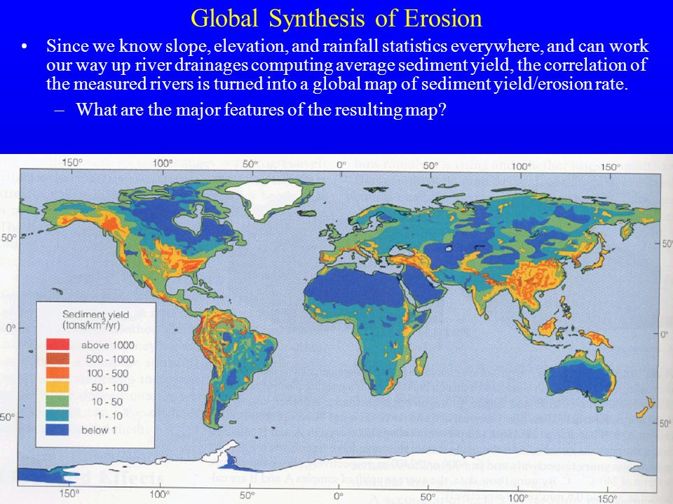 27 Global Synthesis of Erosion Since we know slope, elevation, and rainfall statistics everywhere, and can work our way up river drainages computing a