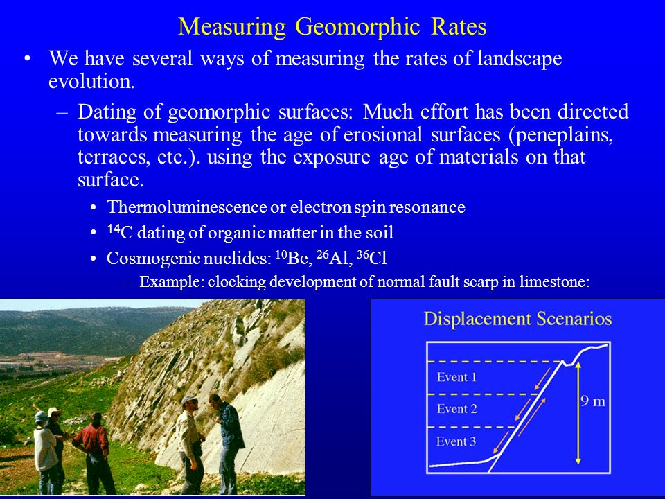 32 Measuring Geomorphic Rates We have several ways of measuring the rates of landscape evolution. –Dating of geomorphic surfaces: Much effort has been