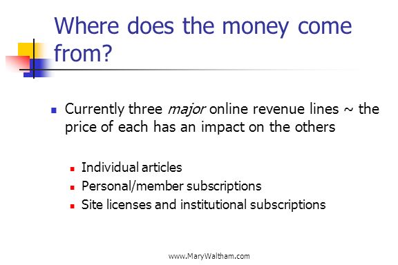 www.MaryWaltham.com Where does the money come from? Currently three major online revenue lines ~ the price of each has an impact on the others Individ
