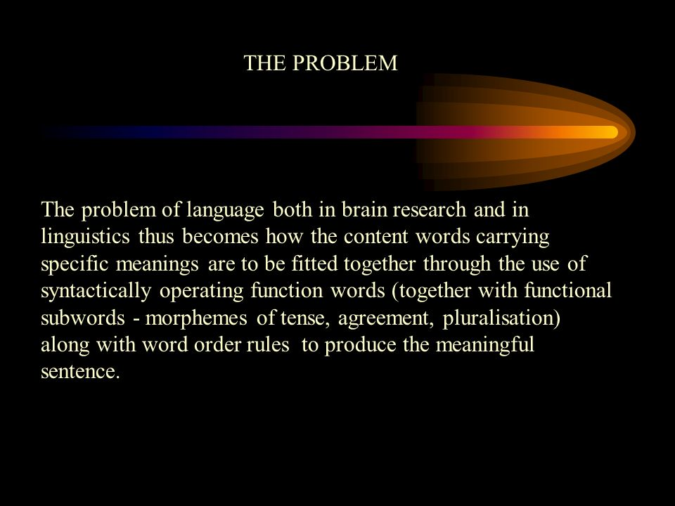 The problem of language both in brain research and in linguistics thus becomes how the content words carrying specific meanings are to be fitted toget