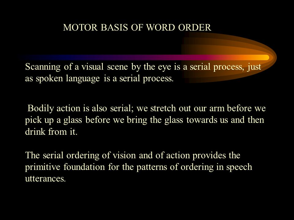 MOTOR BASIS OF WORD ORDER Scanning of a visual scene by the eye is a serial process, just as spoken language is a serial process. Bodily action is als