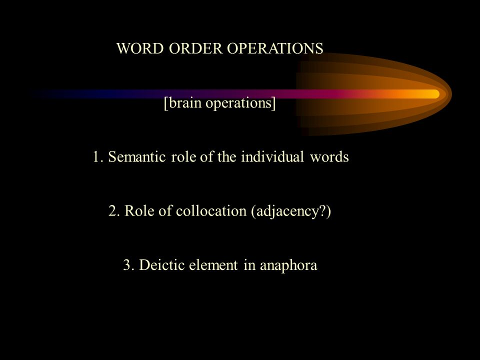 WORD ORDER OPERATIONS 1. Semantic role of the individual words 2. Role of collocation (adjacency?) 3. Deictic element in anaphora [brain operations]