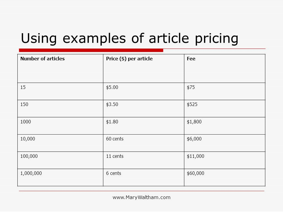 www.MaryWaltham.com Using examples of article pricing Number of articlesPrice ($) per articleFee 15$5.00$75 150$3.50$525 1000$1.80$1,800 10,00060 cent