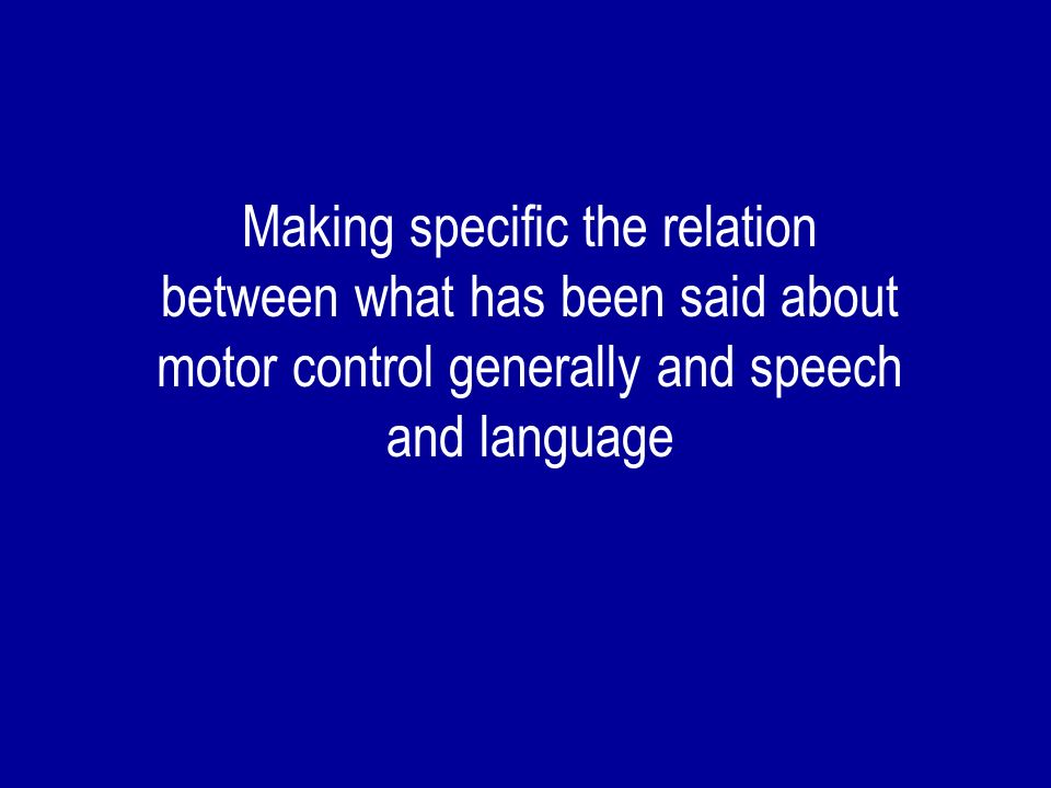 From the motor processes associated with perception can be constructed articulatory gestures - word-programs related to what is perceived