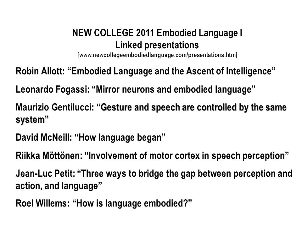 NEW COLLEGE 2011 Embodied Language I Linked presentations [www.newcollegeembodiedlanguage.com/presentations.htm] Robin Allott: Embodied Language and t