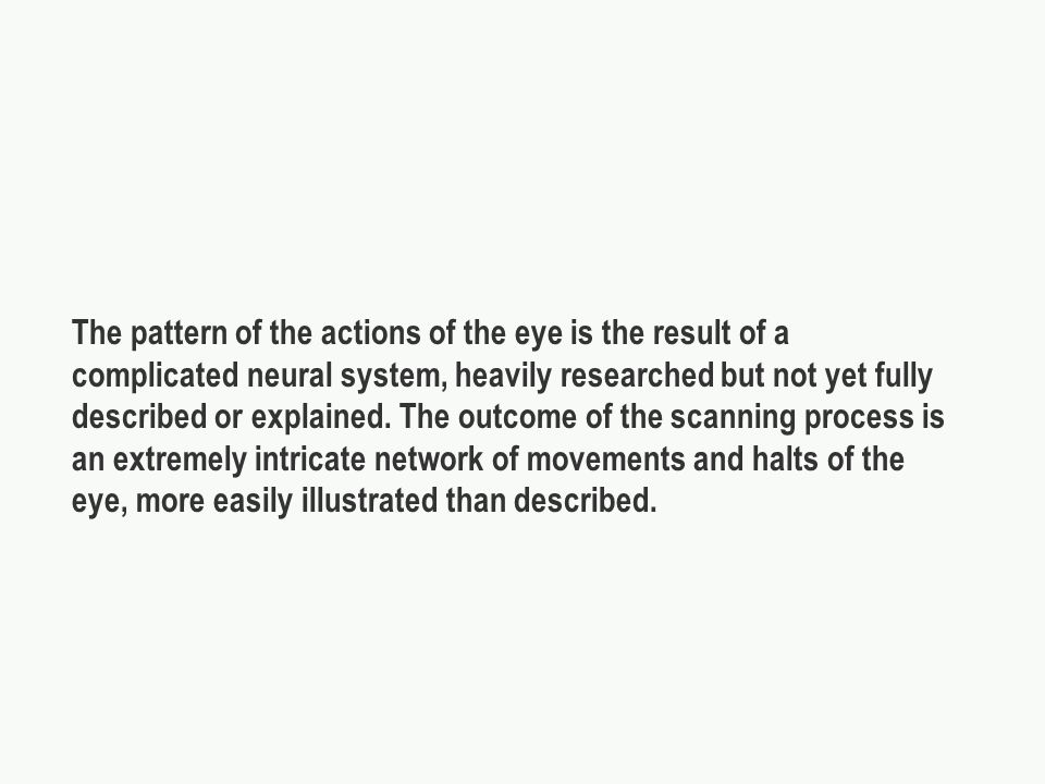 The pattern of the actions of the eye is the result of a complicated neural system, heavily researched but not yet fully described or explained.