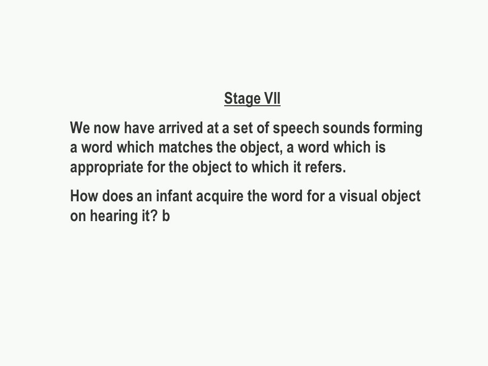 Stage VII We now have arrived at a set of speech sounds forming a word which matches the object, a word which is appropriate for the object to which it refers.
