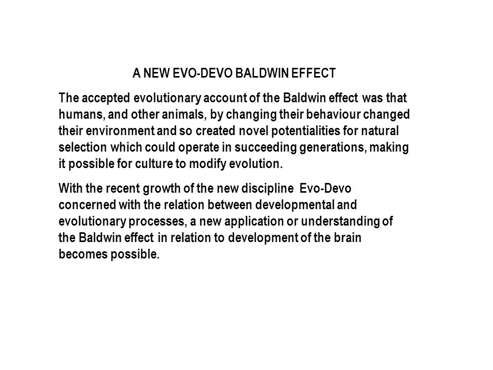 A NEW EVO-DEVO BALDWIN EFFECT The accepted evolutionary account of the Baldwin effect was that humans, and other animals, by changing their behaviour changed their environment and so created novel potentialities for natural selection which could operate in succeeding generations, making it possible for culture to modify evolution.
