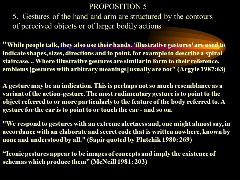 PROPOSITION 5 5. Gestures of the hand and arm are structured by the contours of perceived objects or of larger bodily actions