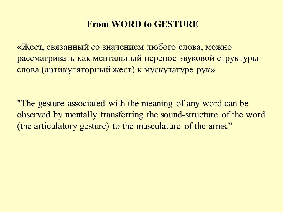 «Моторная программа, генерирующая слово, артикуляторный жест, также создает эквивалентный телесный жест.
