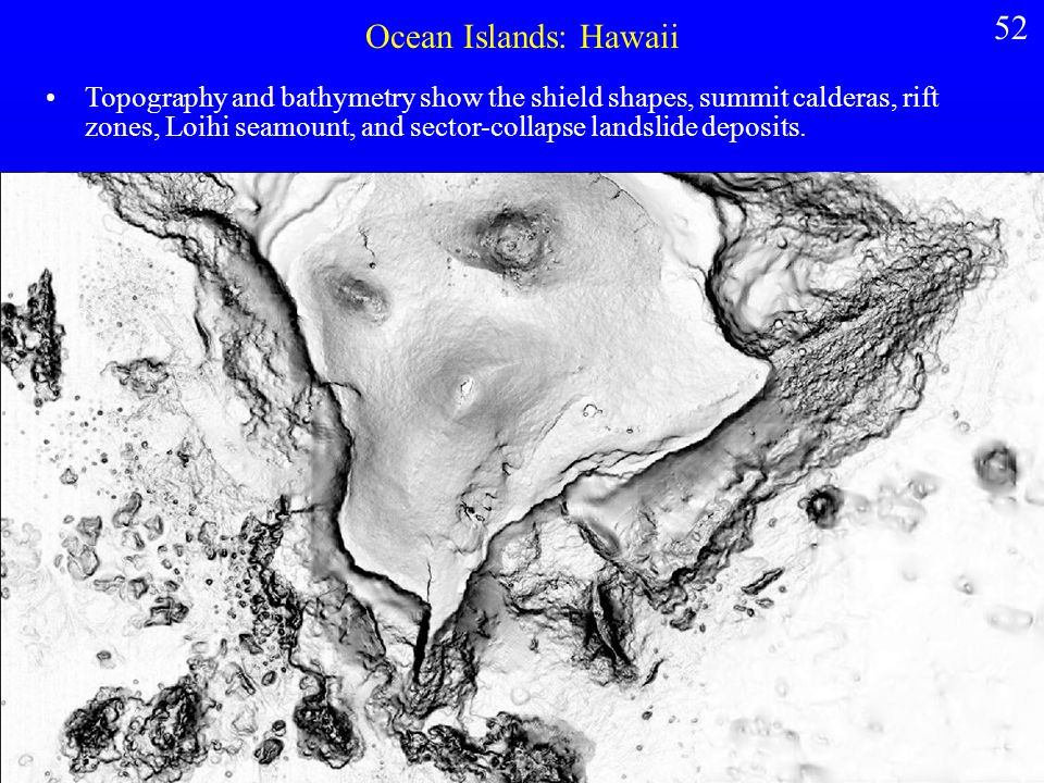 Ocean Islands: Hawaii Topography and bathymetry show the shield shapes, summit calderas, rift zones, Loihi seamount, and sector-collapse landslide deposits.