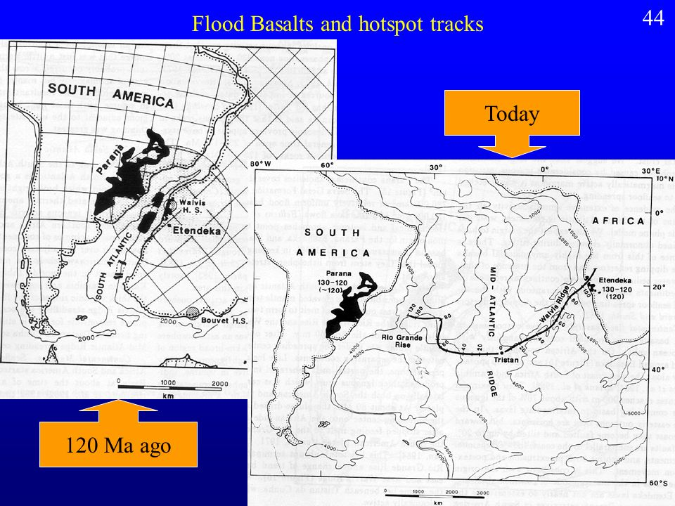 Flood Basalts and hotspot tracks 120 Ma ago Today 44