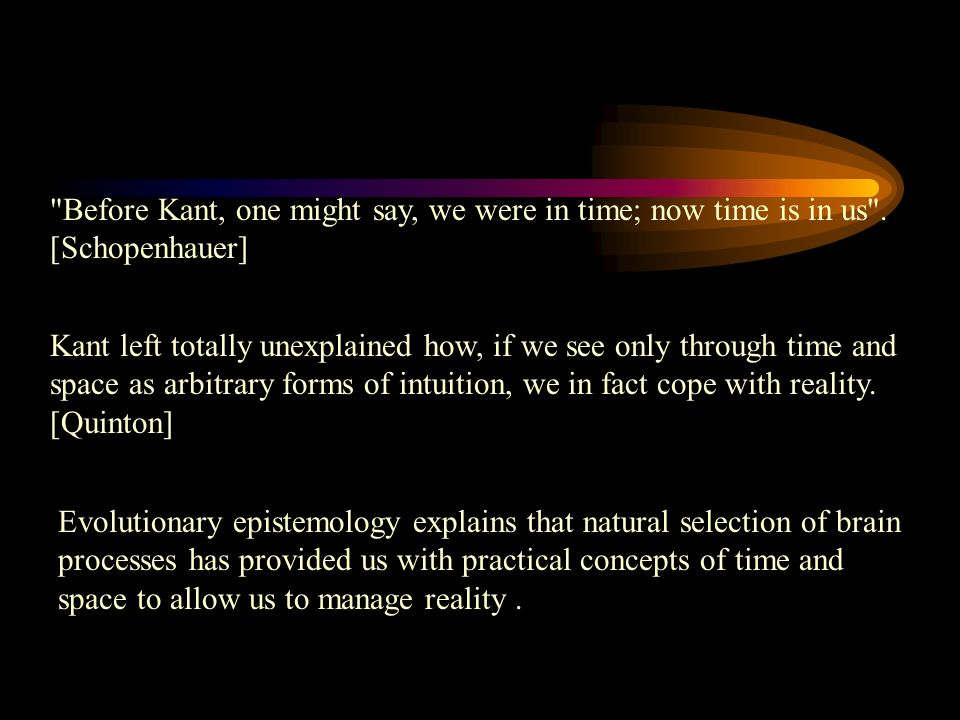 Before Kant, one might say, we were in time; now time is in us .