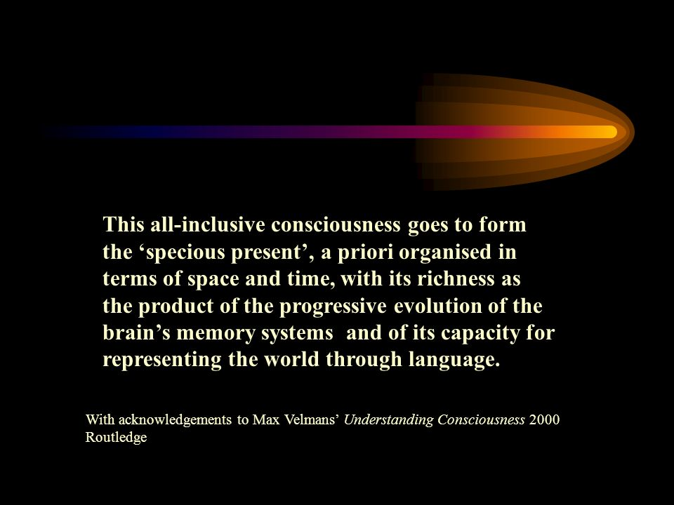 This all-inclusive consciousness goes to form the specious present, a priori organised in terms of space and time, with its richness as the product of the progressive evolution of the brains memory systems and of its capacity for representing the world through language.