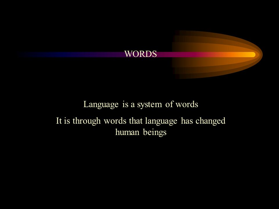 WORDS Language is a system of words It is through words that language has changed human beings