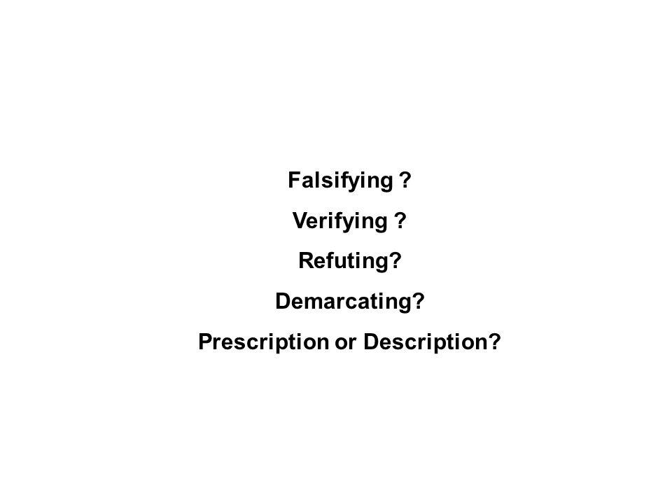 Falsifying ? Verifying ? Refuting? Demarcating? Prescription or Description?