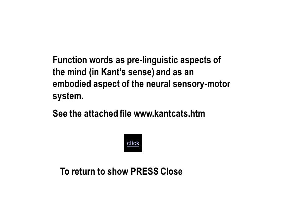 click Function words as pre-linguistic aspects of the mind (in Kants sense) and as an embodied aspect of the neural sensory-motor system.