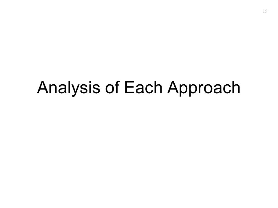 15 Analysis of Each Approach