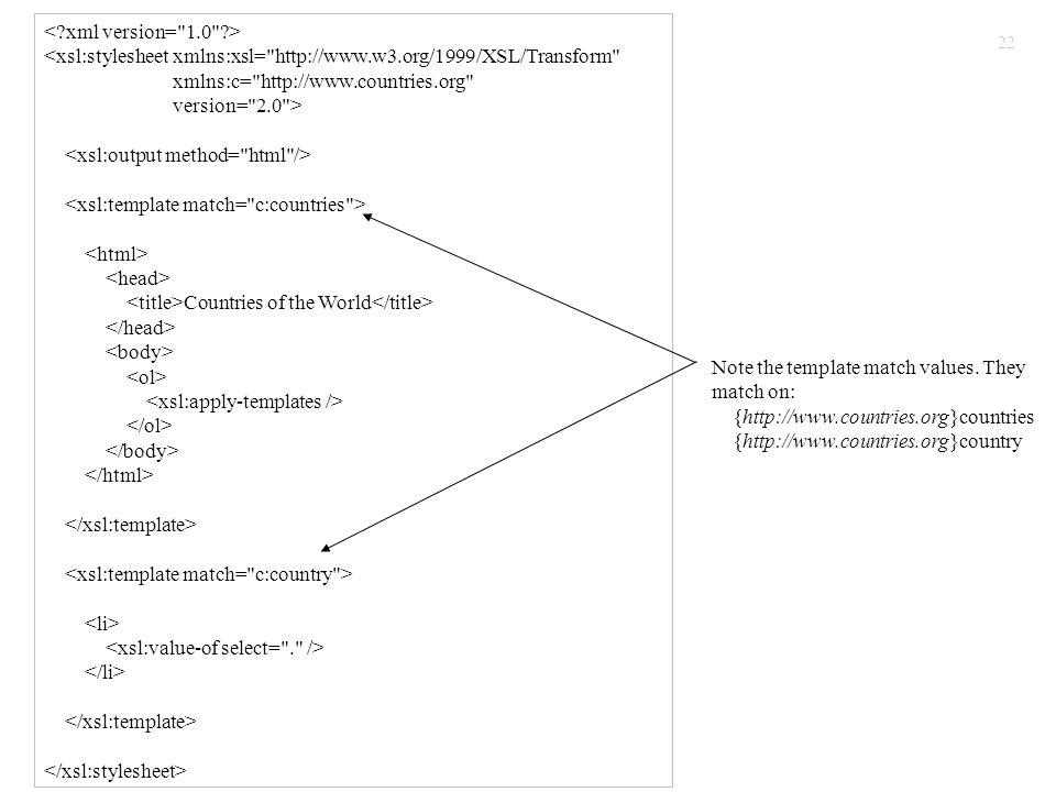 22 <xsl:stylesheet xmlns:xsl= http://www.w3.org/1999/XSL/Transform xmlns:c= http://www.countries.org version= 2.0 > Countries of the World Note the template match values.