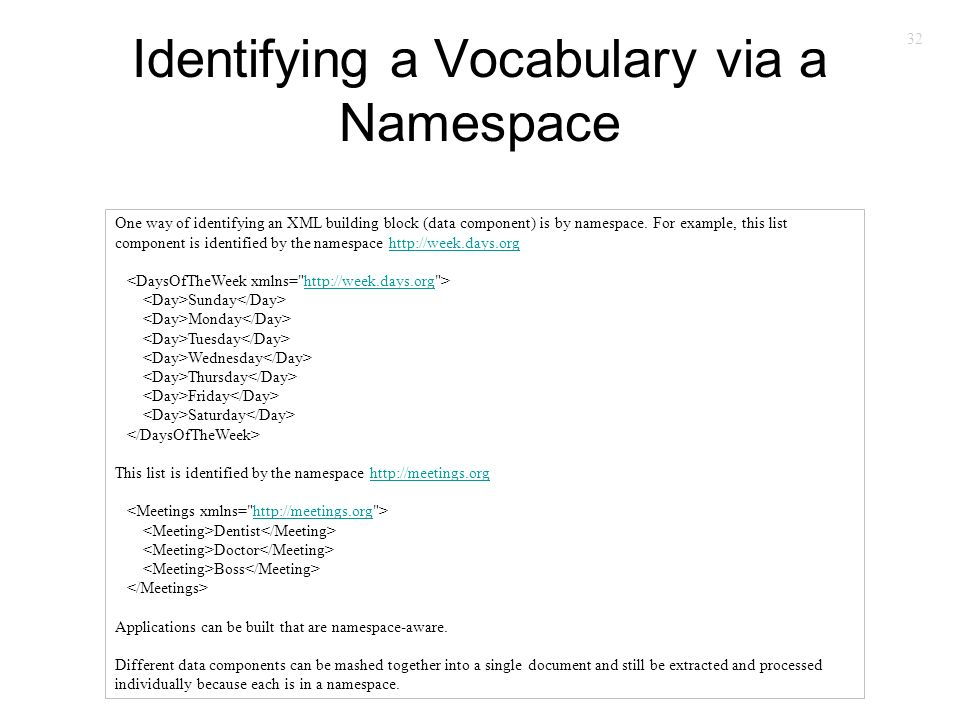 32 Identifying a Vocabulary via a Namespace One way of identifying an XML building block (data component) is by namespace. For example, this list comp