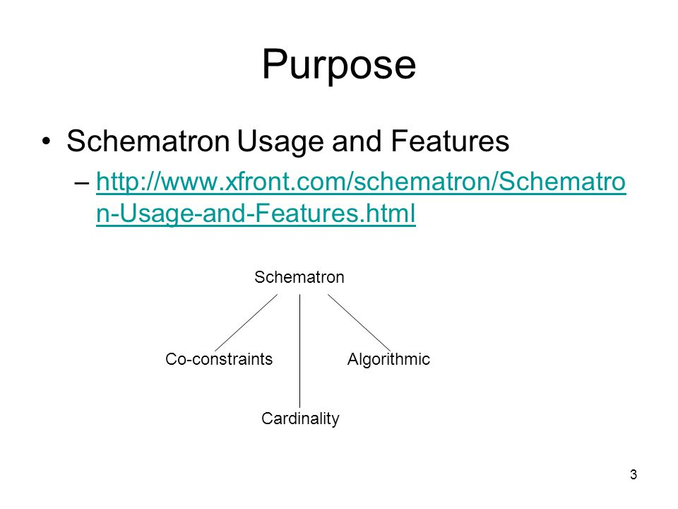 3 Purpose Schematron Usage and Features –  n-Usage-and-Features.htmlhttp://  n-Usage-and-Features.html Schematron Co-constraintsAlgorithmic Cardinality