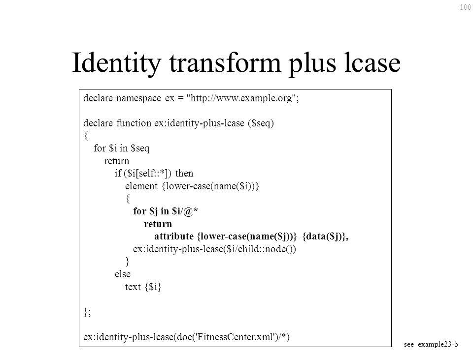 100 Identity transform plus lcase declare namespace ex =