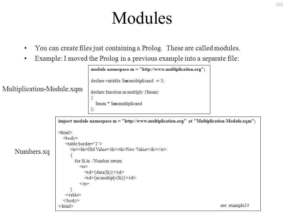 101 Modules You can create files just containing a Prolog.