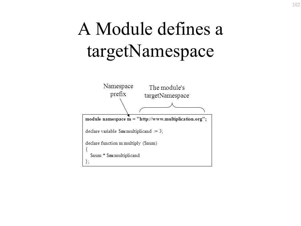 102 A Module defines a targetNamespace module namespace m = http://www.multiplication.org ; declare variable $m:multiplicand := 3; declare function m:multiply ($num) { $num * $m:multiplicand }; The module s targetNamespace Namespace prefix